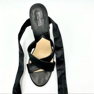 MICHAEL Michael Kors Black Leather Wedge Sandals